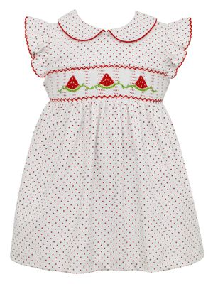 Petit Bebe Knits Baby / Toddler Girls White / Red Dots Smocked Watermelons Knit Dress