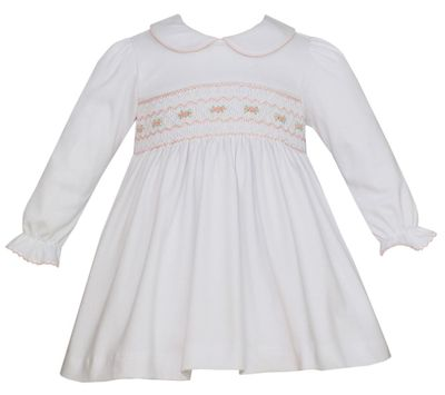 Petit Bebe Knits Baby / Toddler Girls White Smocked Dress - Collar & Long Sleeves