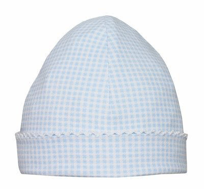 Petit Bebe Knits - Unisex Baby Boys / Girls Hat - Blue Mini Check with White Picot Trim
