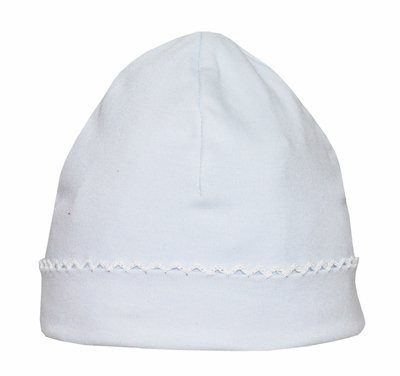 Petit Bebe Knits - Unisex Baby Boys / Girls Hat - Blue with White Picot Trim