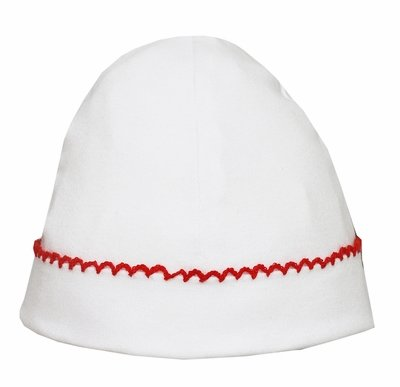 Petit Bebe Knits - Unisex Baby Boys / Girls Hat - White with Red Picot Trim