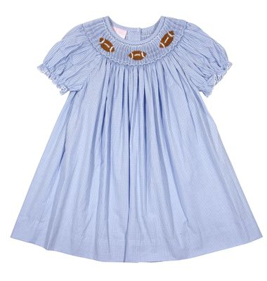 Petit Bebe Baby / Toddler Girls Blue Smocked Footballs Bishop Dress