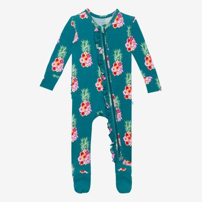 Posh Peanut Baby Girls Footie Ruffled Zippered One Piece Footie - Ananans Pink Pineapples