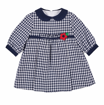 Florence Eiseman Baby / Toddler Girls Navy Blue Check Dress - Red Flower