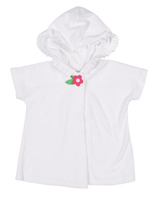 Florence Eiseman Baby / Toddler Girls White Terry Cover Up - Hood & Pink Flower