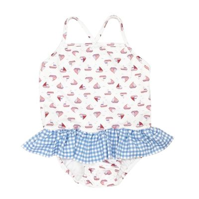 James & Lottie Girls Lainey Swimsuit - Sailboats with Blue Gingham Ruffle
