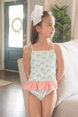 James & Lottie Girls Lainey Swimsuit - Green Palm Trees with Blush Pink Ruffle