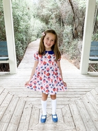 Pre-Order: James & Lottie Girls Penny Pleat Dress - Pink Strawberry with Blue Trim