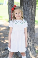 James & Lottie Girls White / Red Dots Lucille Dress - Sash - Christmas Tree Lace Collar