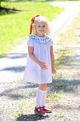 James & Lottie Girls White / Red Dots Lucy Dress - Christmas Tree Lace Collar