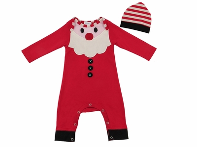 Lemon Loves Lime Layette Baby Boys Santa Claus Romper with Hat