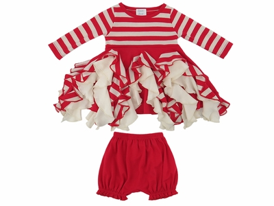 Lemon Loves Lime Layette Baby Girls Red / White Striped Little Candy Cane Twirl Dress Set
