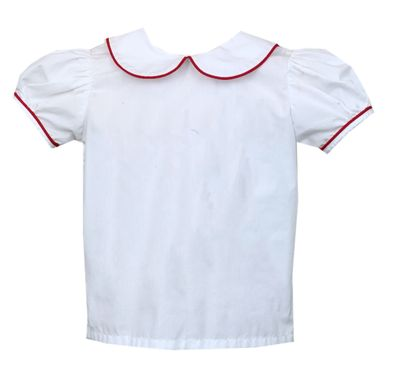 Lullaby Set Girls School Days Better Together Blouse - Short Sleeves - White with Red Piping