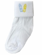 Pre-Order: Lullaby Set White Fold Over Socks - Embroidered Blue & Yellow School Crayons