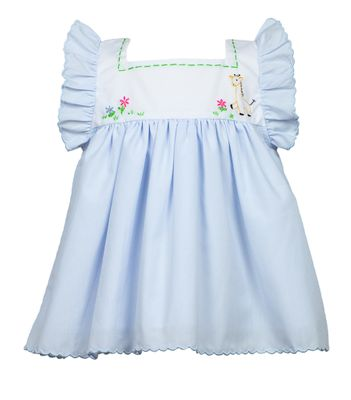 The Proper Peony Baby / Toddler Girls Blue Griffin Giraffe Dress