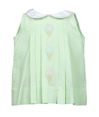 Pre-Order: The Proper Peony Baby / Toddler Girls Green Seersucker Sweet Scoop Ice Cream Dress