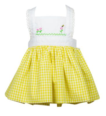 The Proper Peony Girls Yellow Gingham Busy Bee Pinafore Dress