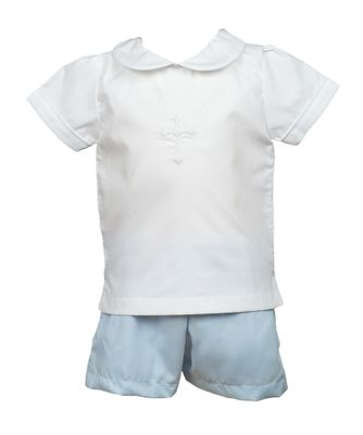 The Proper Peony Toddler Boys White / Blue Cross Shorts Set