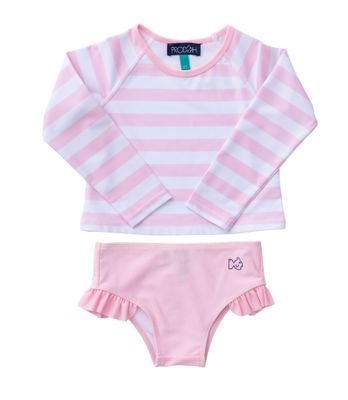 Prodoh Girls Rash Guard Swim Set - Rose Shadow Pink Stripes