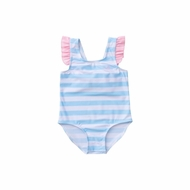 Prodoh Girls Swimsuit - Arctic Blue Stripes - Pink Bow on Back