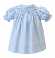 Proper Peony Baby Girls Wedgewood Blue Smocked Baby Bishop Dress