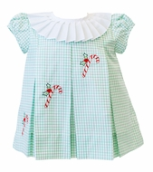Proper Peony Girls Green Candy Cane Christmas Dress