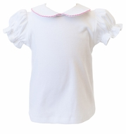 Proper Peony Girls White Knit Blouse - Short Sleeves - Trimmed in Pink