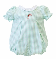 Proper Peony Green Candy Cane Christmas Bubble - Baby Girls