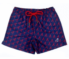 Properly Tied Boys Swim Trunks - Navy Blue with Red Crawfish