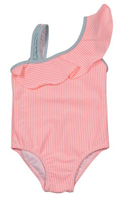 Properly Tied Girls Ally One Shoulder Swimsuit - Coral Pink Seersucker
