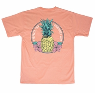 Properly Tied Melon T-Shirt - Logo Pocket on Front - Back Graphic - Pineapple Paradise