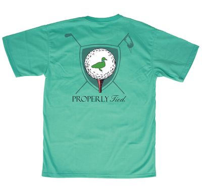 Properly Tied Soft Green T-Shirt - Logo Pocket on Front - Back Graphic - Golf Tee Time