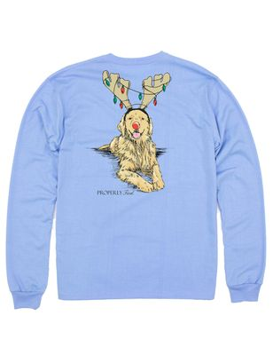 Properly Tied Tee Shirt - Logo Pocket on Front - Back Graphic - Blue Golden Retriever Holiday Lights