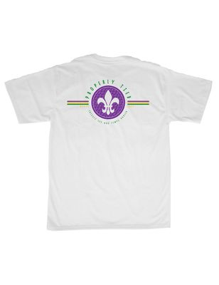 Properly Tied White T-Shirt - Logo Pocket on Front - Back Graphic - Mardi Gras Fleur de Lis