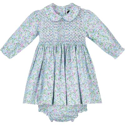 Question Everything Girls Eloise Blue Floral Smocked Dress