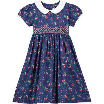 Question Everything Girls Navy Blue / Cherry Print Sophie Smocked Dress - White Collar