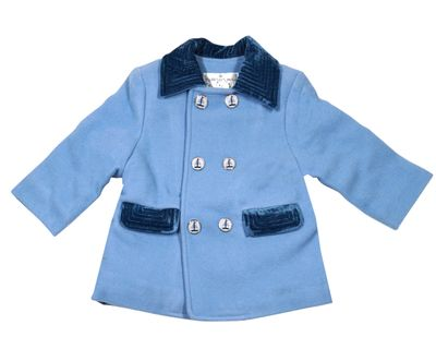 Rachel Riley London Baby / Toddler Boys Double Breasted Blue Coat with Nautical Sailboat Buttons