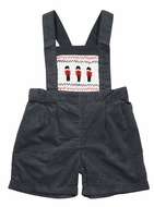 Rachel Riley London Baby / Toddler Boys Gray Corduroy Smocked Nutcracker Soldiers Overall