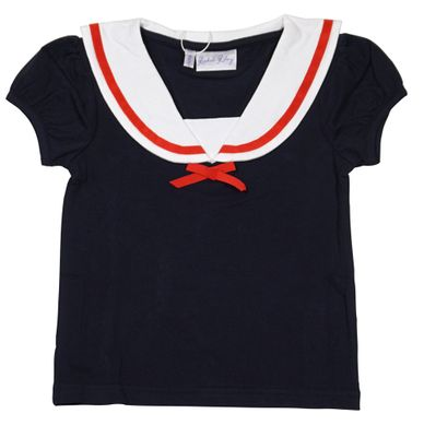 Rachel Riley London Girls Classic Sailor Top - Navy Blue with Red Trim