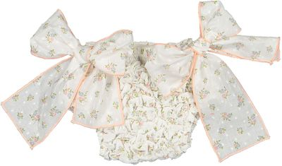 Sal & Pimenta Baby Girls Frilled Bikini Bottom with Bows - Dotted Swiss Pink Aster