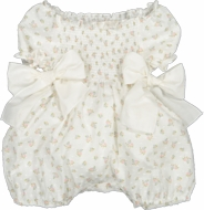 Sal & Pimenta Baby Girls Smocked Romper - Ivory Swiss Dot Floral Aster - Bows at Sides