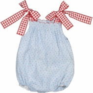 Sal & Pimenta Baby / Toddler Girls Blue Cherry Blossom Bubble - Red Gingham Bows