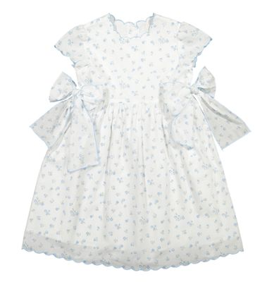 Sal & Pimenta Girls Blue Peony Floral Dress with Side Bows