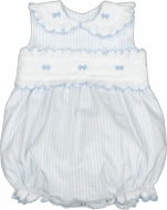 Sal & Pimenta Girls Bubble - Periwinkle Blue Stripes - Embroidered Bows