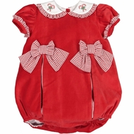 Sal & Pimenta Girls Bubble - Red Velvet with Gingham Bows & Embroidered Candy Canes Collar