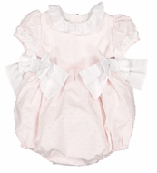 Sal & Pimenta Girls Bubble Romper with Bows - Nenuphar Pink Dotted Swiss
