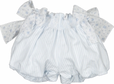 Sal & Pimenta Girls Bubbly Shorts with Floral Bows - Periwinkle Blue Stripes