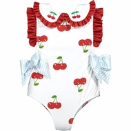 Sal & Pimenta Girls Cherry On Swimsuit with Ruffles & Bows