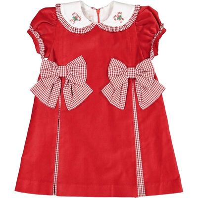 Sal & Pimenta Girls Dress - Red Velvet with Gingham Bows & Embroidered Candy Canes Collar