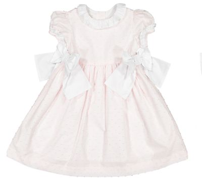 Sal & Pimenta Girls Dress with Bows - Nenuphar Pink Dotted Swiss